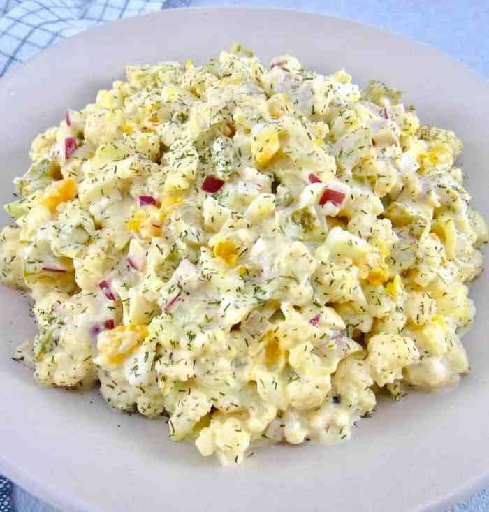 keto cauliflower potato salad is a delicious Keto And Paleo Friendly BBQ Side Dish