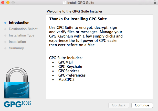 Installation GPG Suite