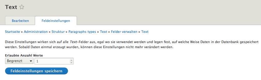Anzahl der Textfelder im Paragraphs Typ