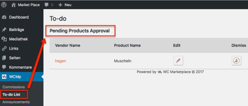 Freigabe des Produkts durch einen Administrator