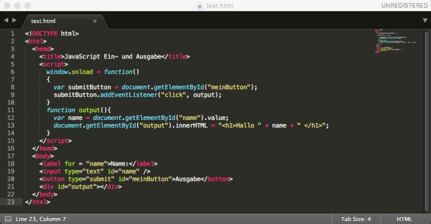 Sublime Editor - Beispiel Code