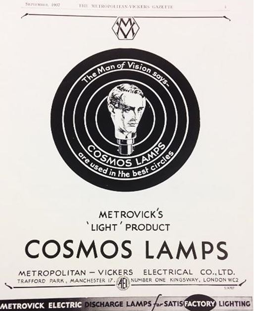 Metrovick's Cosmos Lamps', Metropolitan Vickers Gazette, 1937. NRM Ref: ALS2/55/C/9