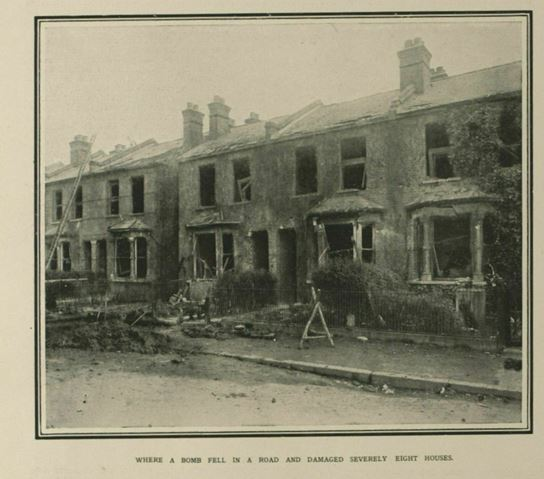'The Cowardly Zeppelin Raid of Oct. 13: Bomb-Wrecked Dwelling-Places of Civilians and Women and Children' as published in Illustrated London News