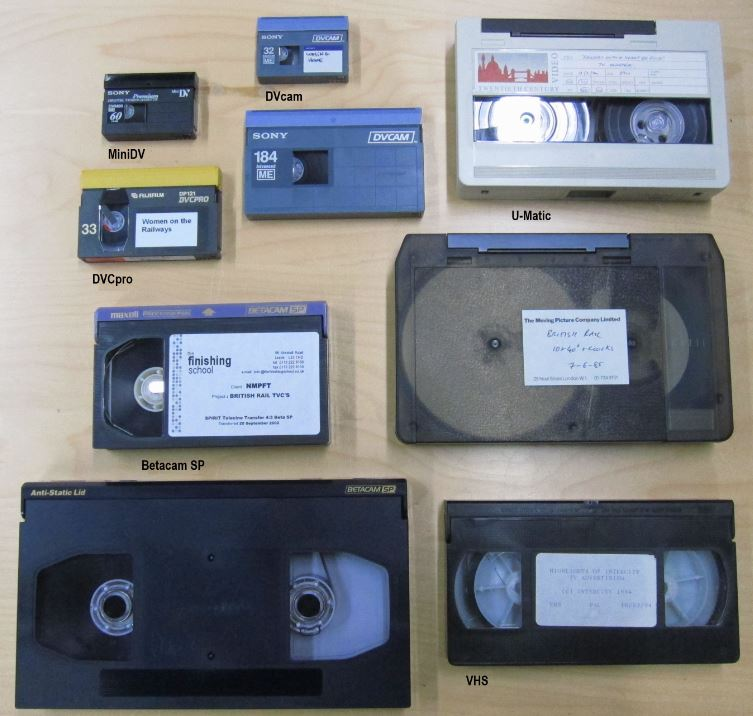 A selection of some of the different tape formats