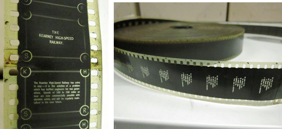 """These pictures are from the nitrate film found in the collection """"The Kearney High Speed railway"""". You can see that the film is a bit yellow compare to the previous acetate example and quite dirty, also there is no mention of """"nitrate"""" on the film edges."""