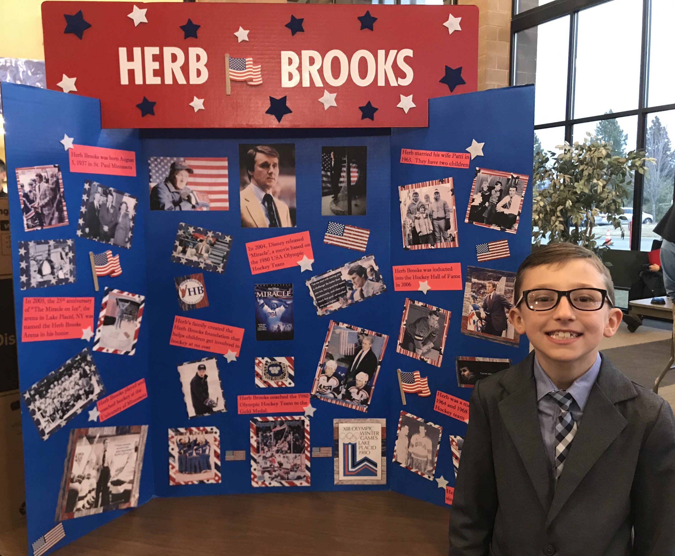 "Matthew, a student from Palisades Christian Academy in Spokane, Washington, chose Herb Brooks for his ""American Hero"" school project. Matthew presented at the ""American Wax Museum Open House"" where people would press a button, and he would ""come to life"" as Herb Brooks relaying facts."