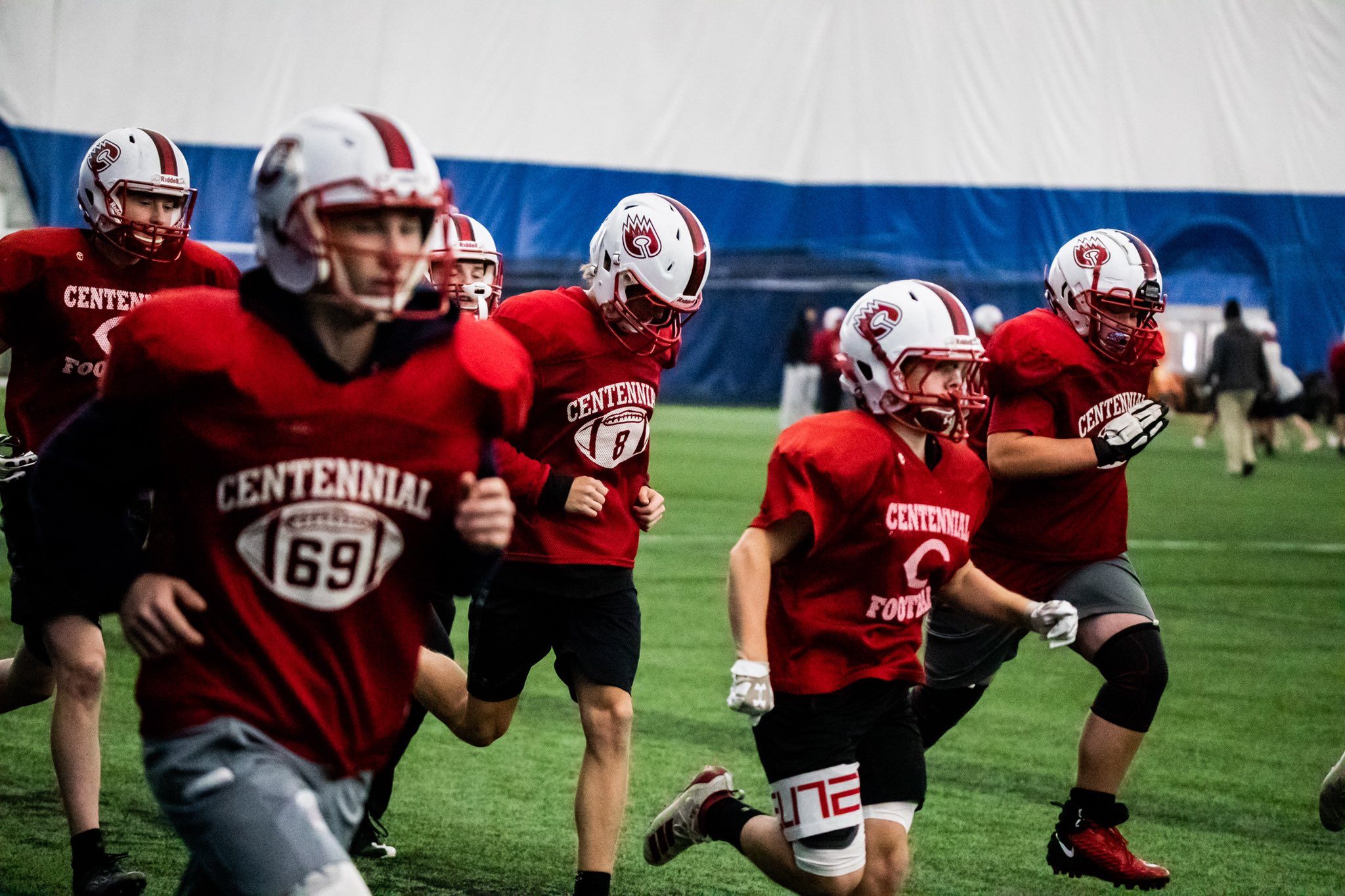 Centennial Cougar Football practiced in the M Health Fairview Dome.