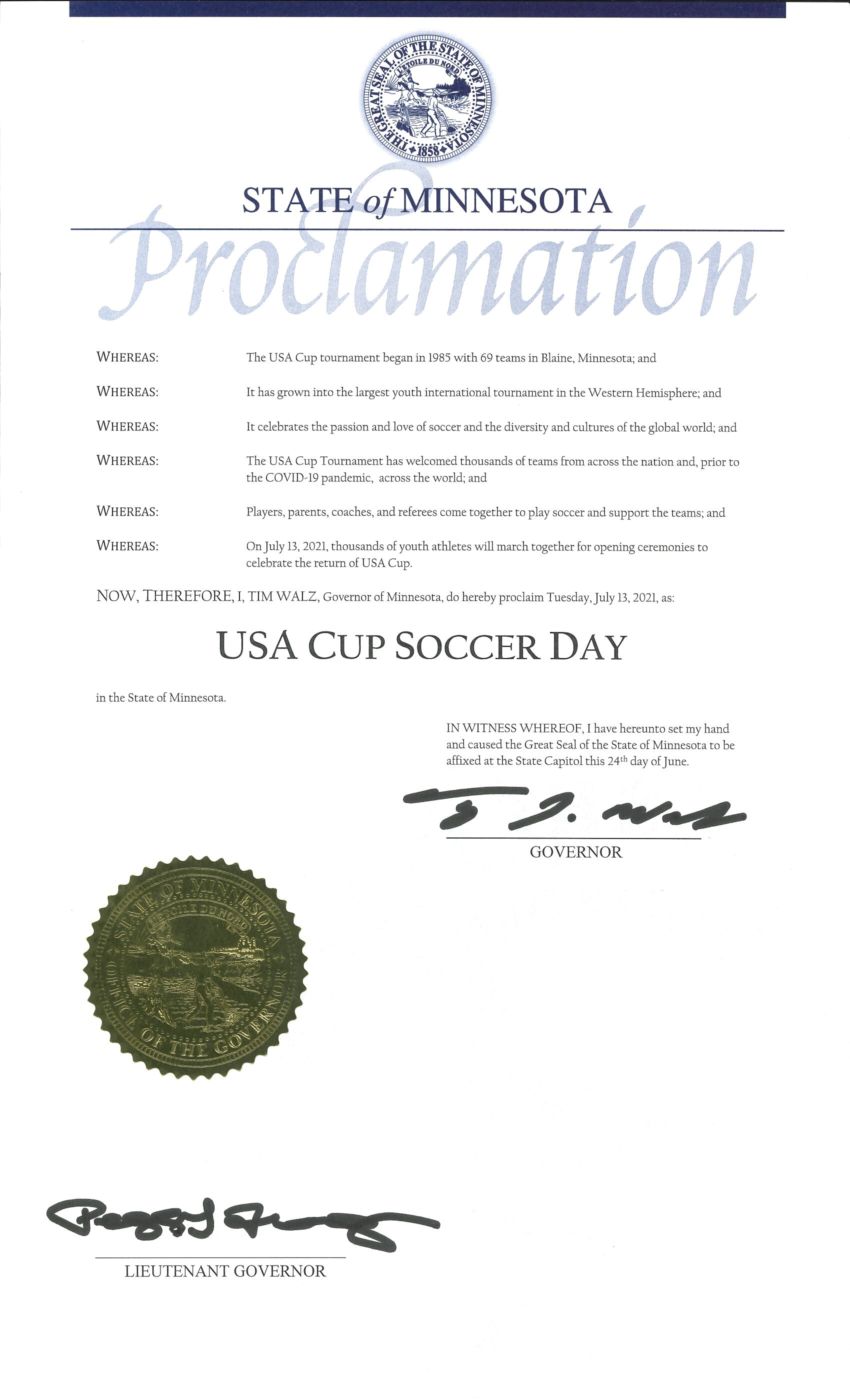 July 13 USA CUP Day Proclamation