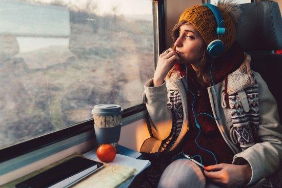 Student on train