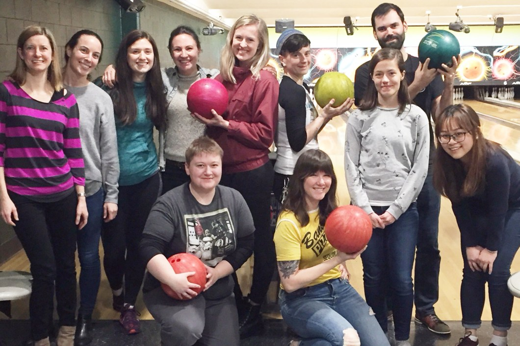 Portland State University NSSLHA chapter members bowling