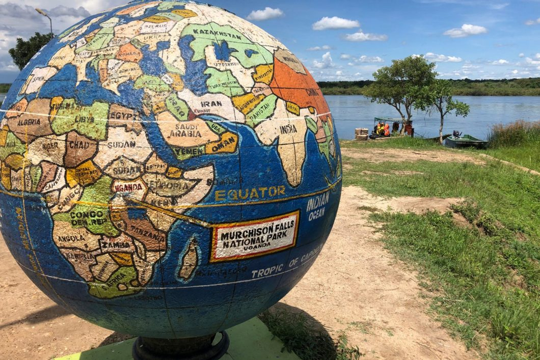 Globe Located at Uganda Waterfront