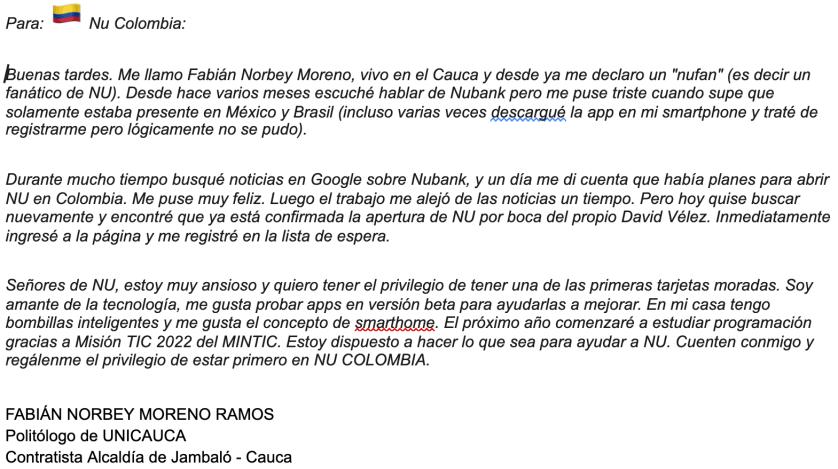 Este es el mail del 30 de septiembre de 2020 que recibimos de Morocho, residente del resguardo indígena de Jambaló, en el Cauca.