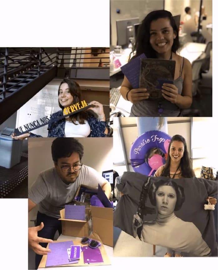 Nuestra equipo de atención con regalos y cartas enviados a clientes de Nu en Brasil