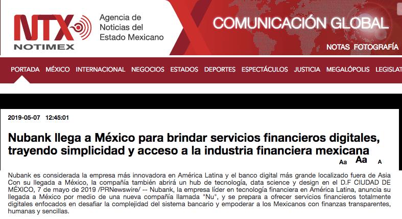 Notimex Nubank Nu en Mexico