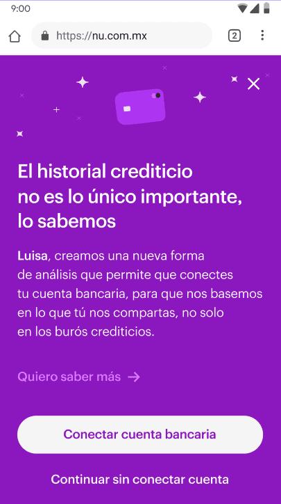Pantalla de app Nu para completar proceso de aprobación para tarjeta de crédito Nu