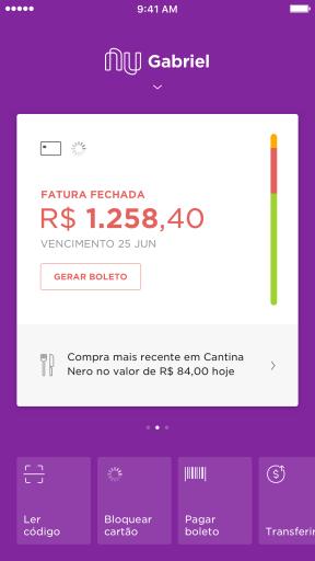Imagem mostra a tela do app NUbank com a fatura fechada, com os gastos em vermelho