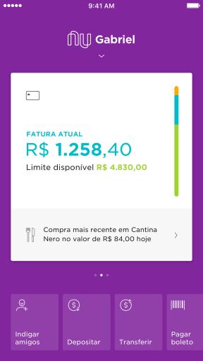 Imagem mostra a tela do app NUbank com a fatura aberta, com os gastos em azul