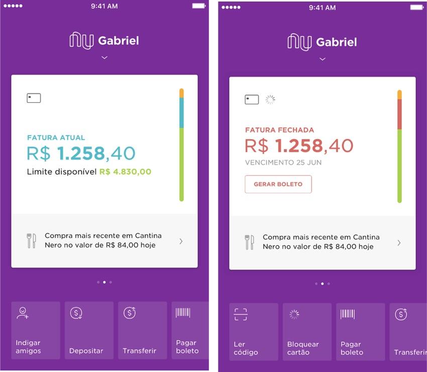 fatura aberta e fatura fechada do cartão Nubank em duas telas do app