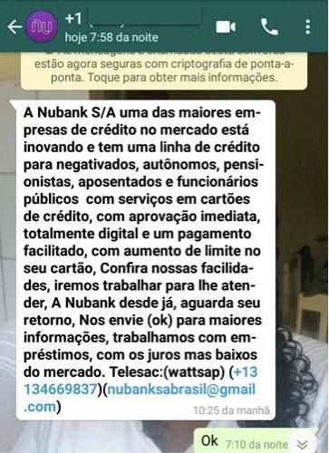 Mensagem no WhatsApp tentando aplicar um golpe envolvendo o empréstimo do Nubank.