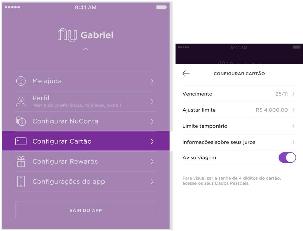 Tela do aplicativo mostrando como entrar na área de configurar cartão