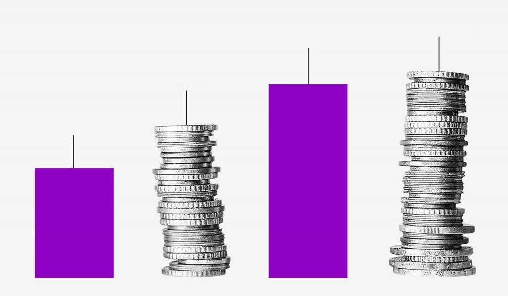 O que é FGTS: ilustração mostra duas pilhas de moedas e duas barras roxas