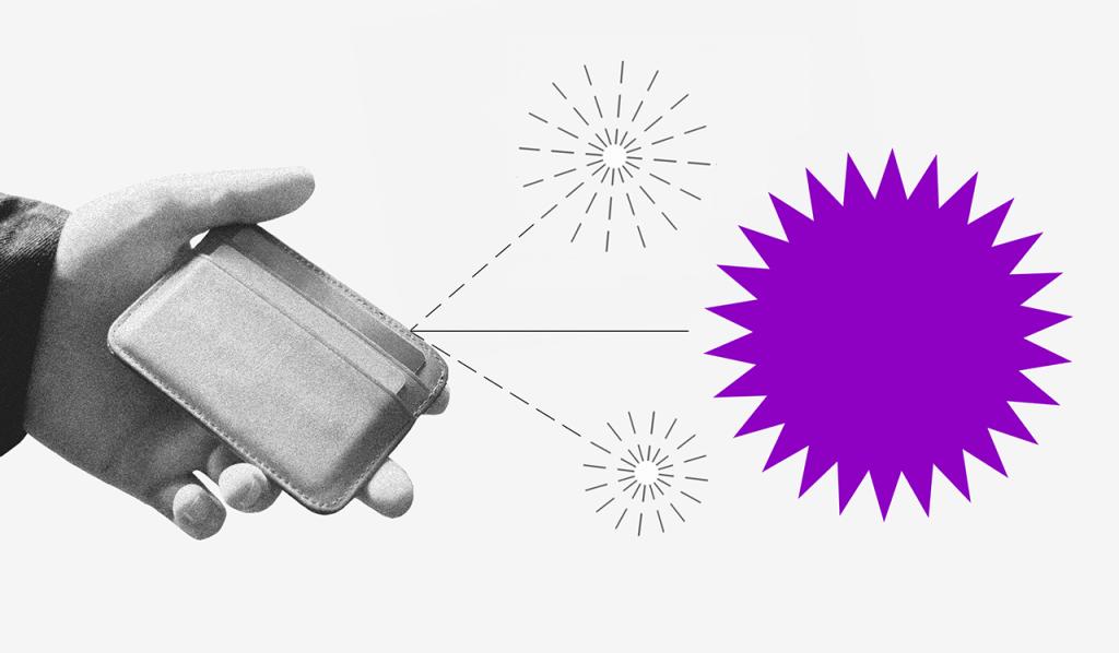 Posso usar meu FGTS para pagar dívidas: uma mão segurando uma carteira de onde saem duas setas pontilhadas, cada uma com um pequeno fogo de artifício no fim. Do meio sai uma seta com um fogo de artifício roxo