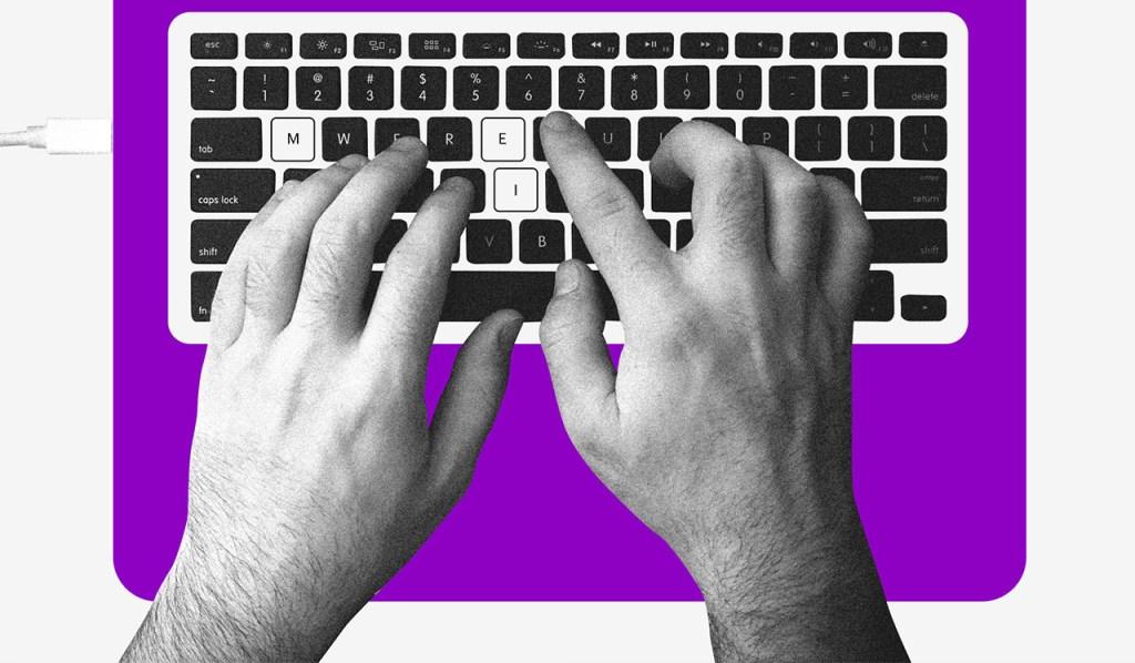 EPP, ME e MEI: no fundo branco, um homem digita no teclado de um notebook. As letras M, E e I estão destacadas, formando MEI.