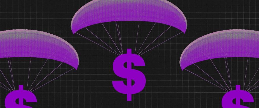 Finanças pessoais: três cifrões roxos pendurados em paraquedas