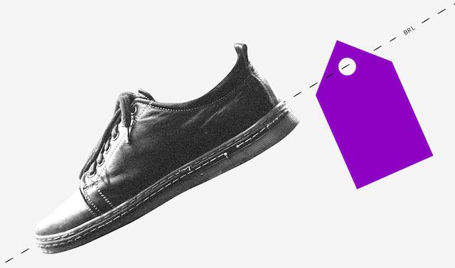 a foto de um sapato com uma etiqueta roxa ilustram a matéria