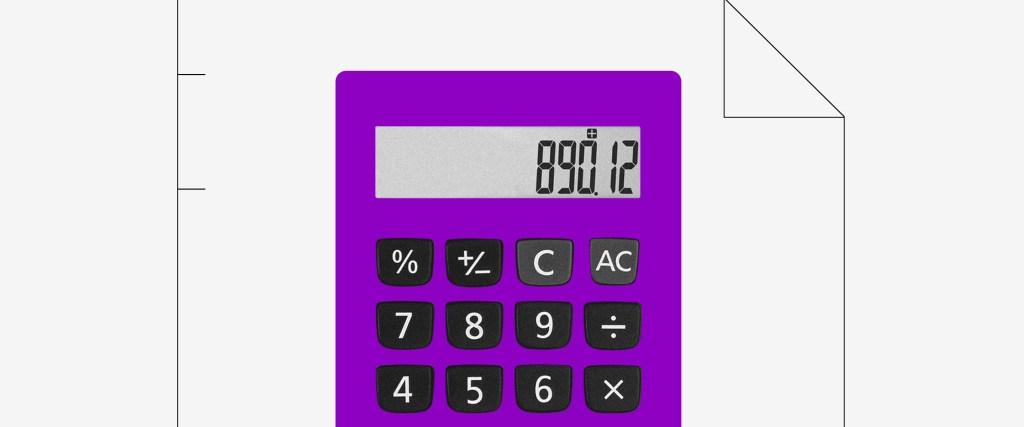 Calculadora roxa com números na tela