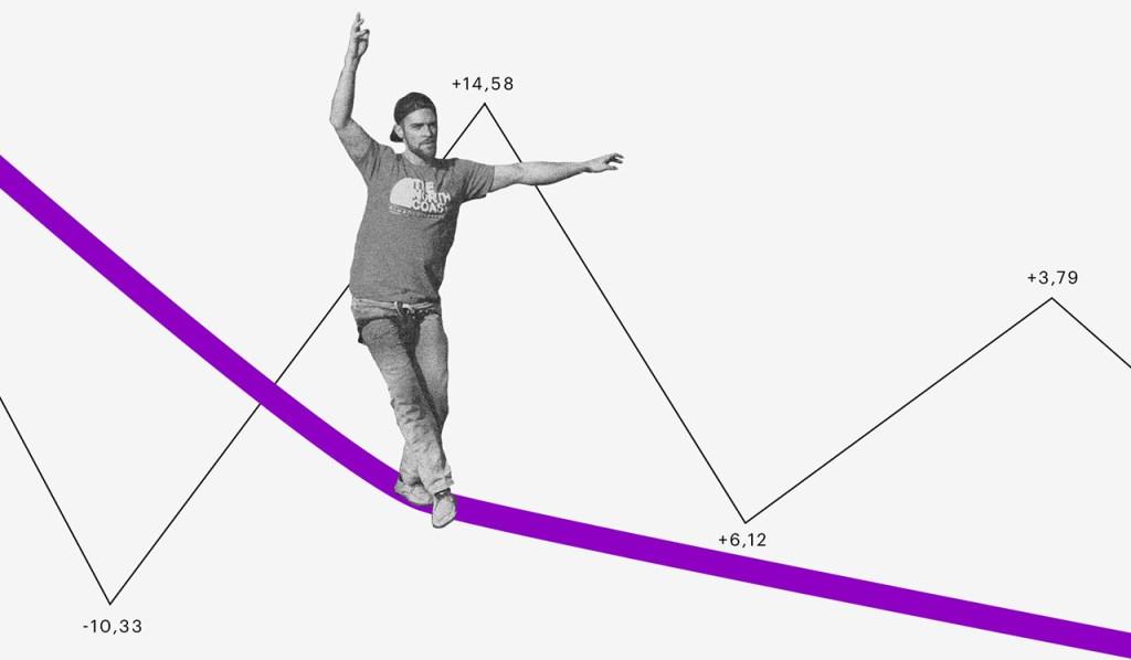 O que é bitcoin: homem se equilibrando em uma corda bamba e uma linha de gráfico subindo e descendo