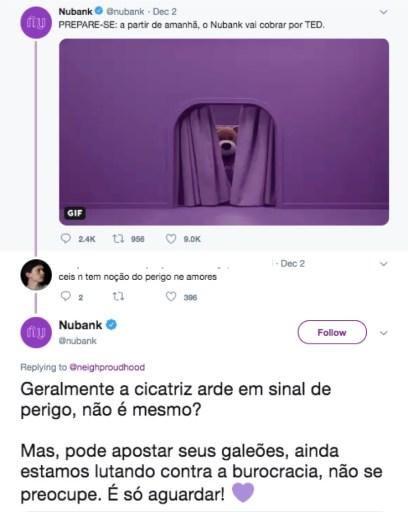 """Interação do Nubank com cliente no Twitter. O cliente brinca que """"não temos noção do perigo""""e o perfil do Nubank responde com referÊncias ao universo Harry Potter"""