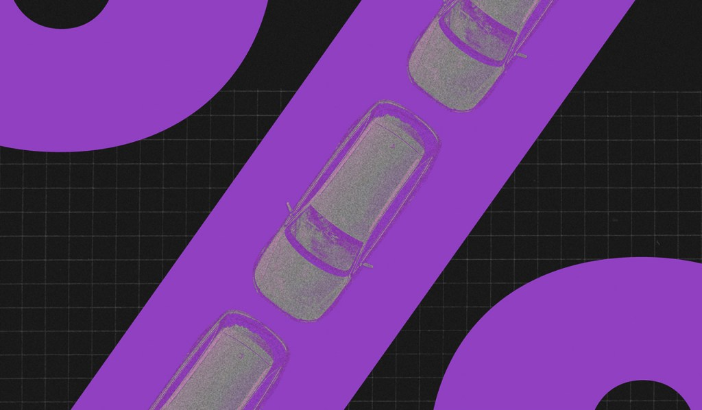 Renda extra: ilustração mostra uma pista de carros roxa com veículos