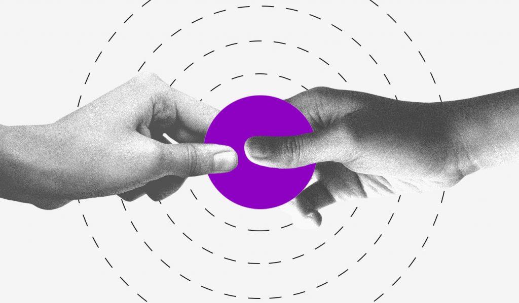 Começar a empreender: ilustração mostra duas mãos segurando um círculo roxo