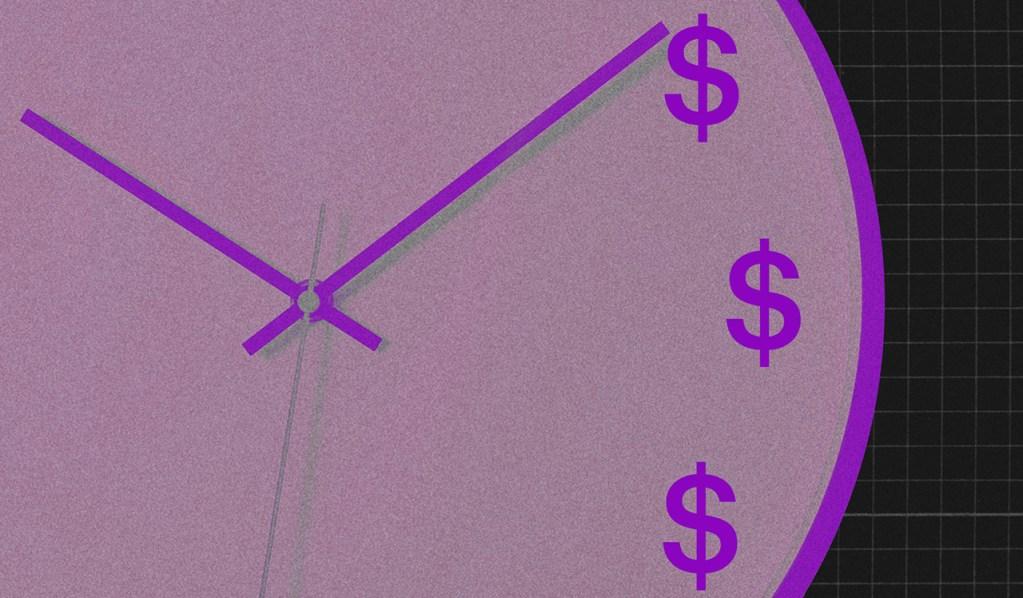 Imagem de um relógio roxo com cifrões no lugar de números