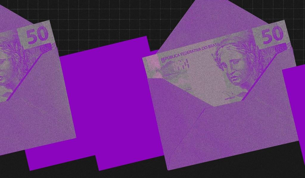 Limpar nome sujo: no fundo preto, colagem de envelopes roxos com notas de cinquenta reais roxas dentro.