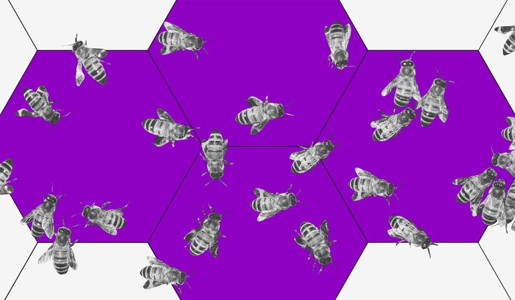 tendências 2020: ilustração de uma colmeia roxa com diversas abelhas sobre ela.