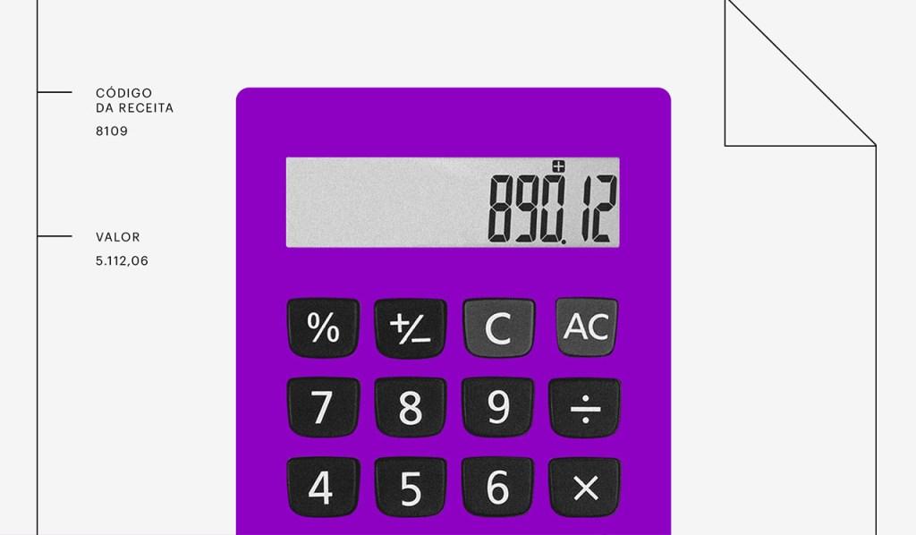 Declaração MEI Simples Nacional: Calculadora roxa com números na tela