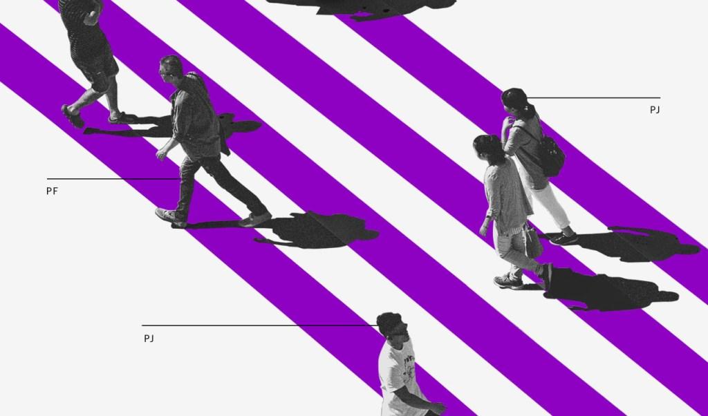 Como separar o dinheiro da empresa do pessoal: ilustração mostera pessoas cruzando uma faixa de pedestres roxa