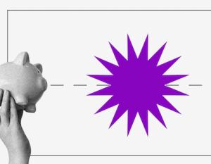 Pix: Imagem de dois cofres de porquinho, um em cada extremidade, segurados por uma mão. Uma linha tracejada os une, com uma estrela roxa de muitas pontas no meio