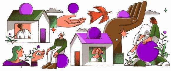 Ilustração com diversos elementos: duas casas com pessoas olhando pela janela, duas mãos segurando bolas roxas, pessoas sentadas sobre outras bolas roxas.
