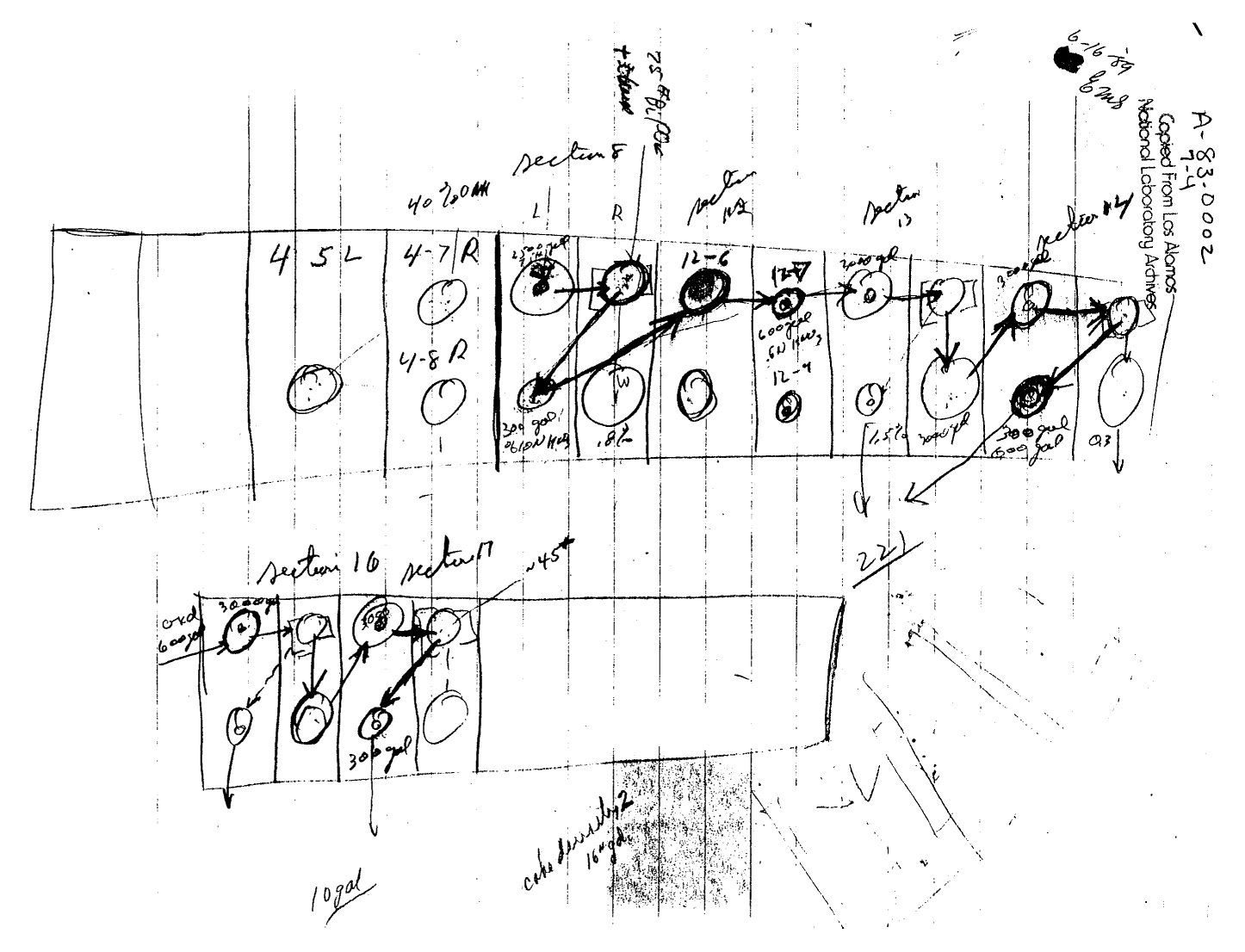 Feynman's diagrammatic sketch of storage of barrels of uranium at oak ridge prepared for his