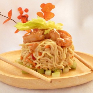 Noodle Nests with Tumeric Ginger-Spiced Shrimp