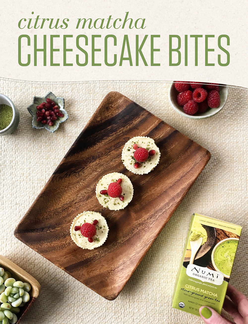 Matcha fans will enjoy the bite-sized deliciousness of these miniature gluten-free cheesecakes.