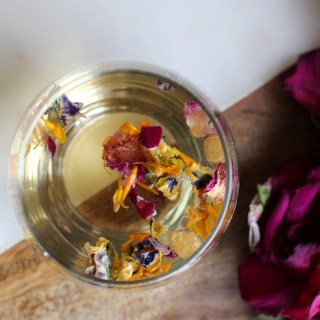 Tea-Infused Edible Flower Ice Cubes