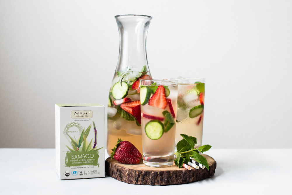 numi organic bamboo tea with cucumbers strawberry and mint
