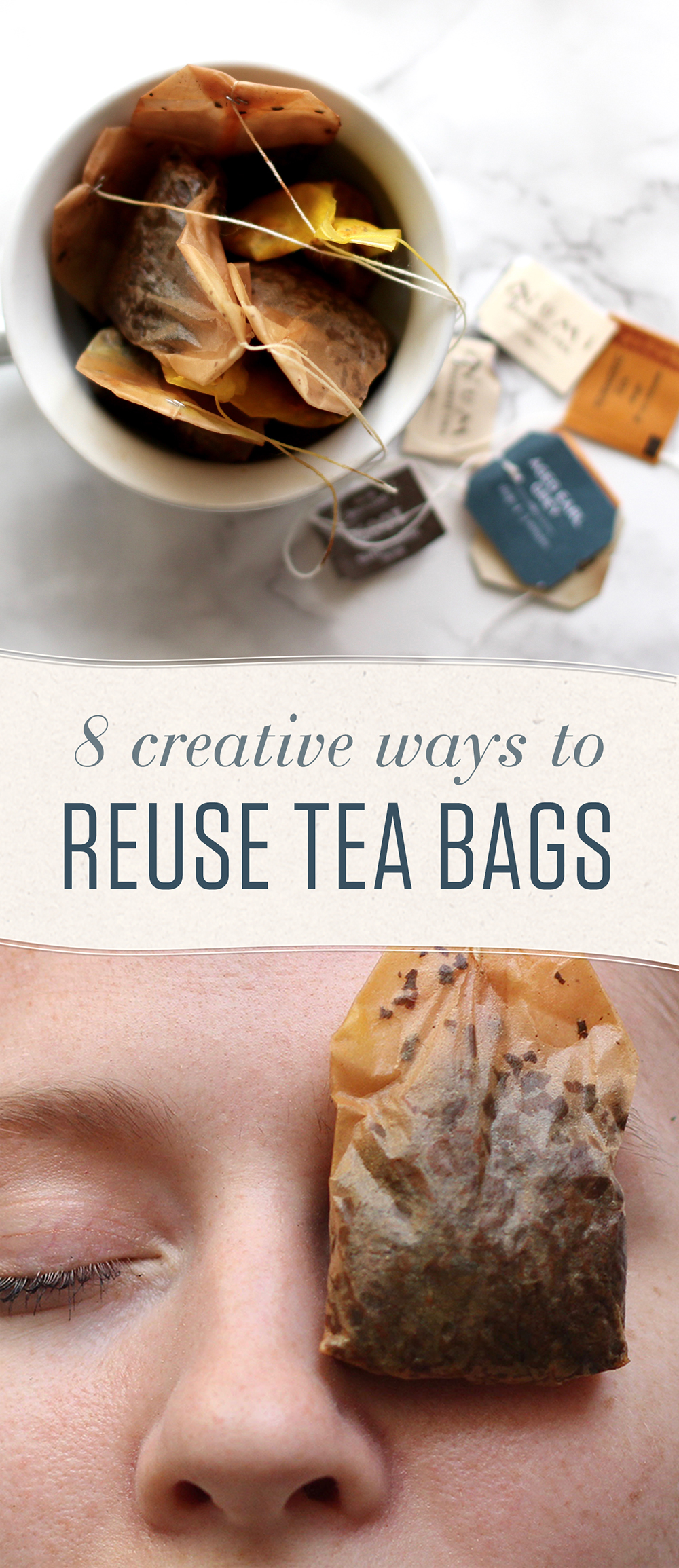 Don't toss those used tea bags! Use them to soothe puffy eyes and sunburns, add flavor to food, and much more that you may know be aware of -- until now!