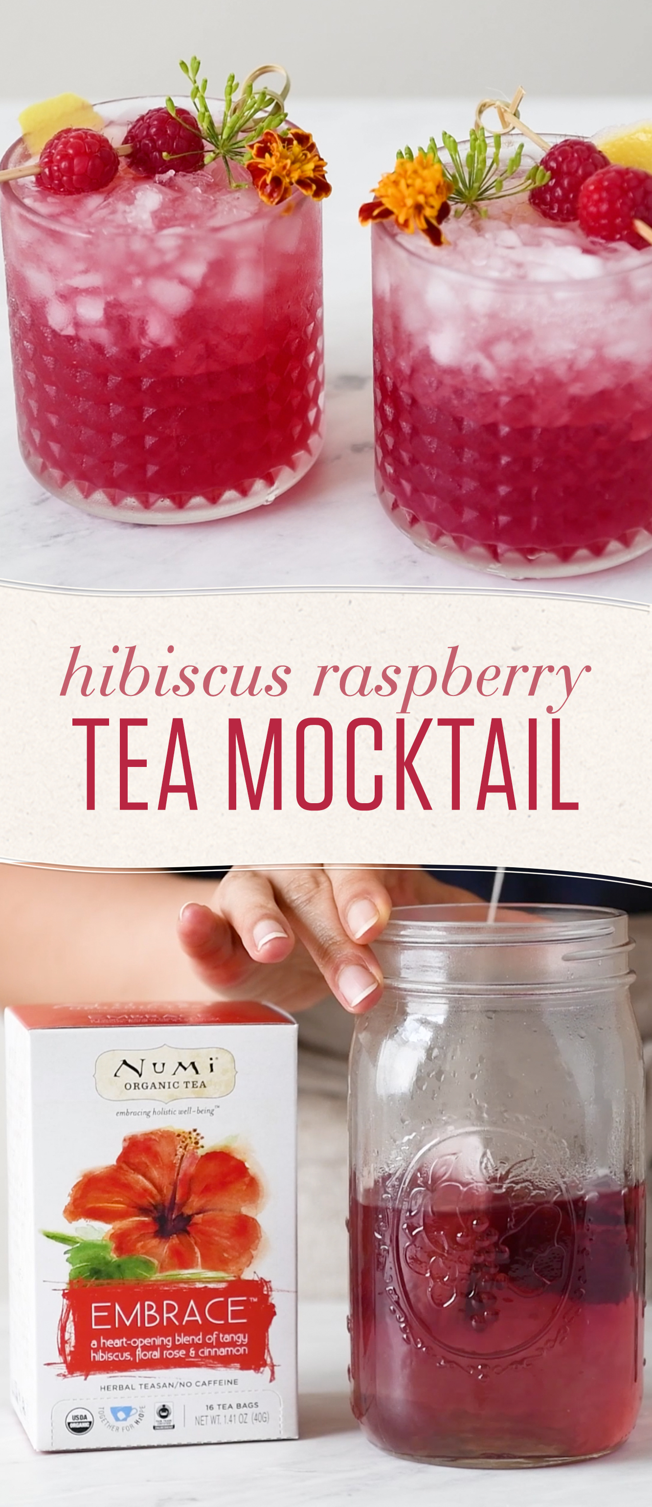 Skip the booze and go big on flavor with this hibiscus tea mocktail. This non-alcoholic treat will keep you hydrated and refreshed all summer!