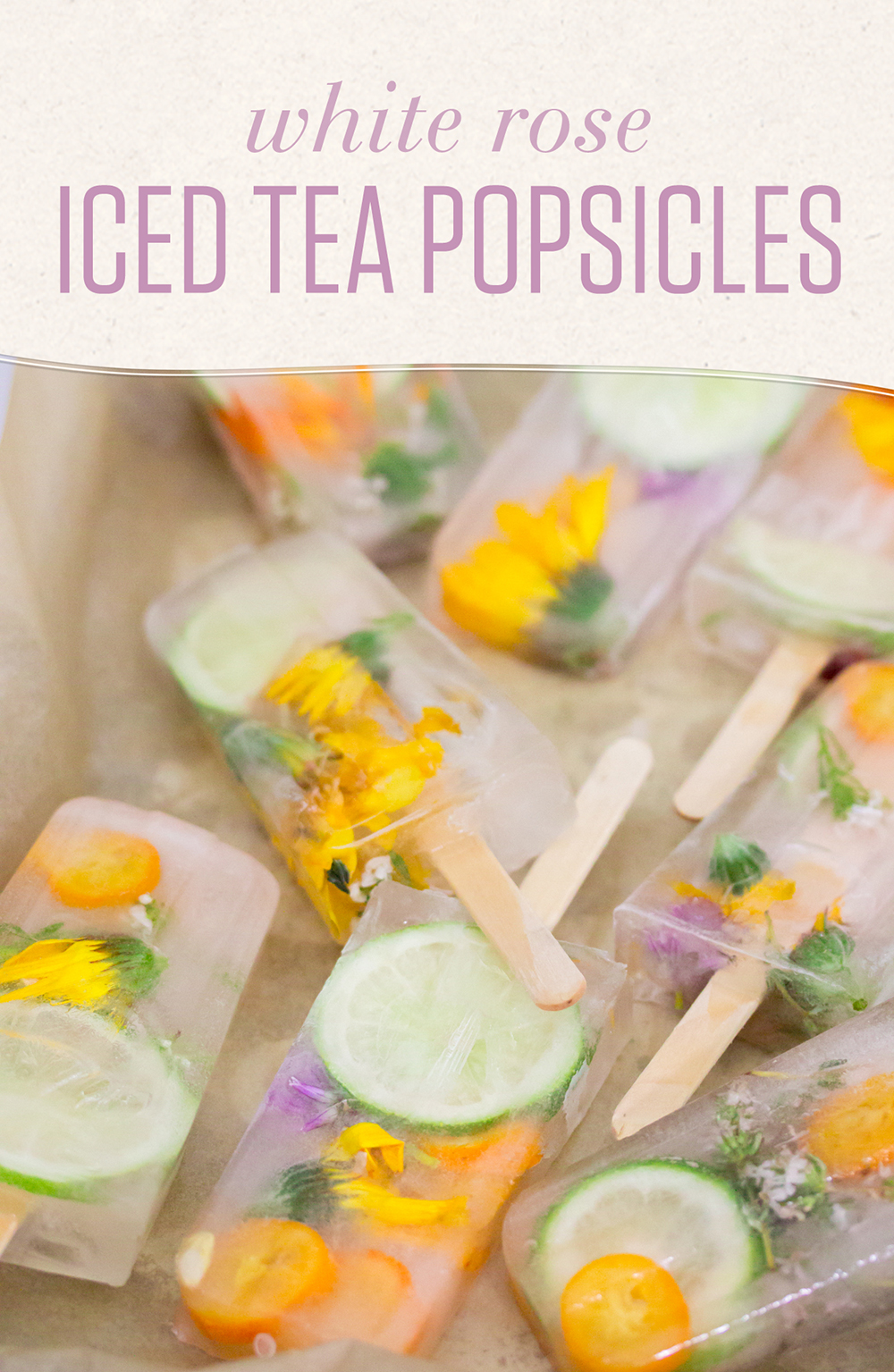 Ditch the sugar and additives! Make flavorful, beautiful popsicles at home with a cold-brewed White Rose tea base infused with fresh seasonal fruits.
