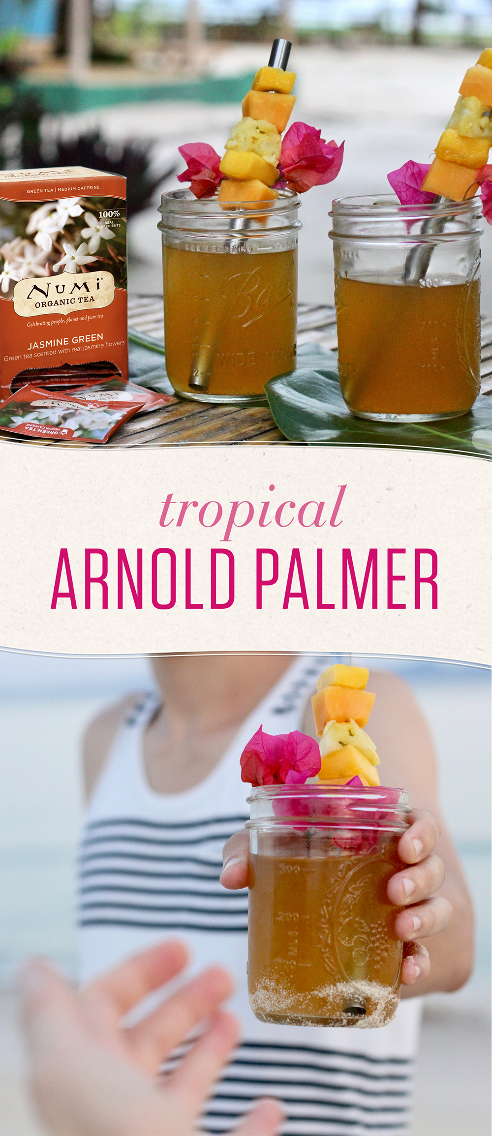 Floral, fruity, sweet. This tropical spin on the classic Arnold Palmer is your new beach day go-to for hydration and happiness.